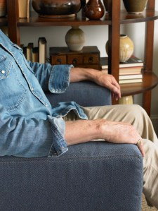 "Joe Ruggiero uses the ""denim look"" on his upholstery."