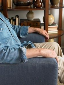 "Joe Ruggiero uses the ""denim look"" on his upholstery."