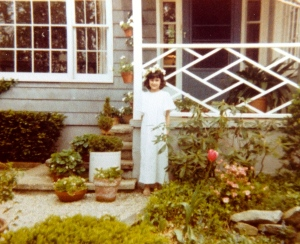 Beth as a child in our garden in Connecticut.