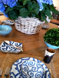 Blue & White table setting; a summer tradition in our house.