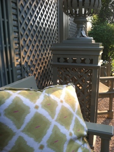 Philippe's beautiful lattice work decorates the garden from his company Accents Of France.