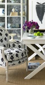 Germaine Chair in Tessoro Sunbrella. Desk is the Xavier Desk.