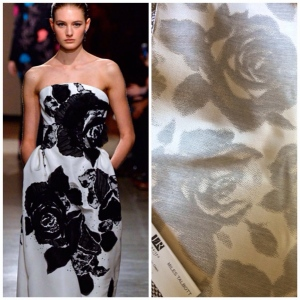 """During New York Fashion Week Designer Peter Copping for Oscar de La Renta introduced roses printed on garments. We will inroduce """"Rosie"""" in our new Upholstery Collection for Sunbrella."""