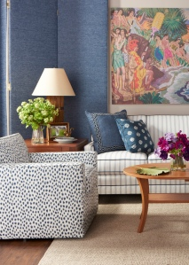 The Kelton Swivel club chair was also very well received covered in Sunbrella pattern Agra/Indigo.